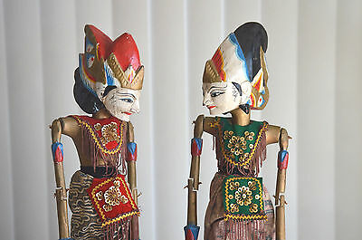 Chinese Folk culture Pair Wood Carved Puppet Oriental VTG