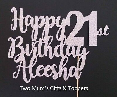 Personalised 21st Birthday Glitter Cake Topper - 300 GSM - 21 - Twenty One