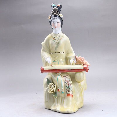 Chinese Famille Rose Porcelain painted beautiful woman Statue aaa2