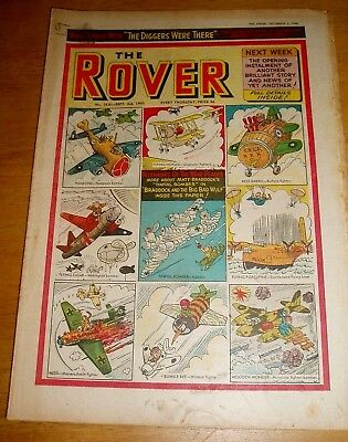 ROVER COMIC  3/9/1960  WITH  WAR PLANES NICKNAMES COVER  WELLINGTON HAMPDEN etc