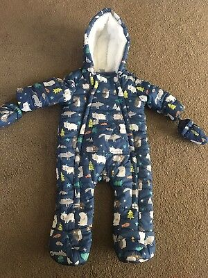TESCO F&F Baby Boy Pram/snow Suit Blue Age 3-6 Months - Immaculate Condition