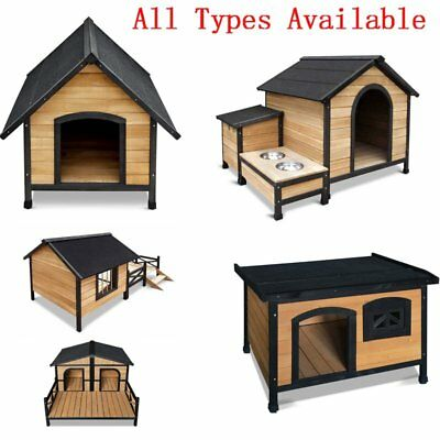 Wooden Pet Dog Kennel House Large Timber Home Cabin Wood In/Outdoor Puppy Garden