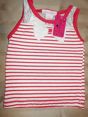 TeddyBoom NWT 12M Girl's Sleeveless Top/pink and white stripes and lace bow