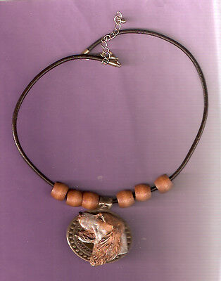 English Setter Orange Belton Necklace with Medallion and Beads Jewelry LAST ONE!