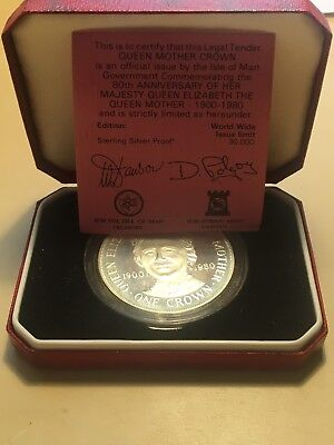 1980 Isle of Man Silver proof Queen Mother one crown coin With Box And COA