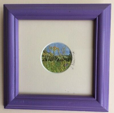 Country Meadow Miniature Round Textile Picture by Devon Artist Jacque Dowling