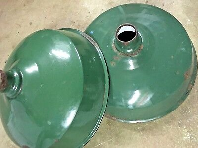"""LOT OF 2 Antique Green Porcelain Industrial Ceiling Light Lamp Shade  14"""""""
