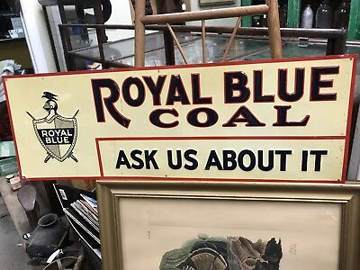 Outstanding Royal Blue Coal Tin Litho Sign 1920s-1930s