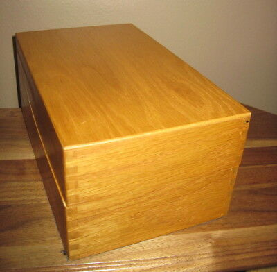 "OLD ""CARVER"" OAK WOOD WOODEN RECIPE INDEX FILE CARD BOX for  3"" x 5"" CARDS"