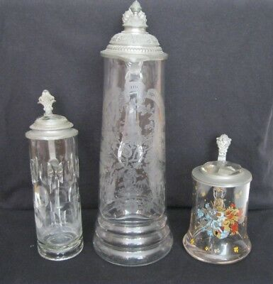Antique Lot of 3 German Glass Steins