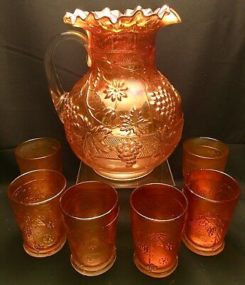 Antique Fenton Floral Grape Pattern Carnival Glass Water Pitcher Set 6 Tumblers
