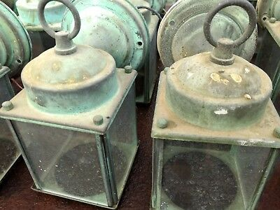 2 Vintage Brass Porch Lights Great Patina FREE SHIPPING !!!! old outdoor light