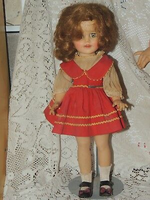 """Vintage 15"""" Shirley Temple Doll in Red Dress-Bow Shoes"""