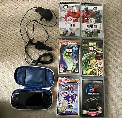 Sony PSP BLACK CONSOLE with a Bundle of GAMES, CASE, CAR CHARGER & CHARGER