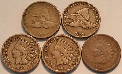 Lot of (5) Flying Eagle, Indian Head Cents 1872, 1857, 1858, 1859, 1862 Penny 1C