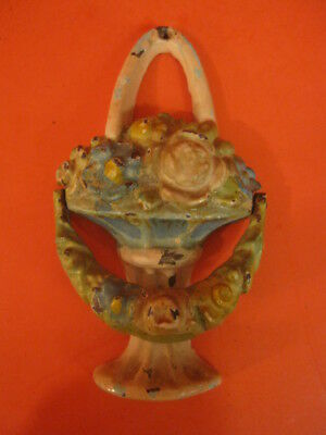 Antique Hubley Basket Of Flowers Cast Iron Door Knocker