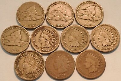 Lot of (10) Flying Eagle, Indian Head Cents 1857, 1858, 1859, 1860 1876 Penny 1C