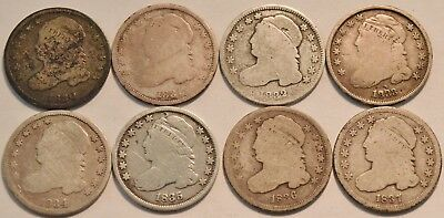 Lot of (8) Capped Bust Dimes, 1830 1831 1832 1833 1834 1835 1836 1837 Silver 10C