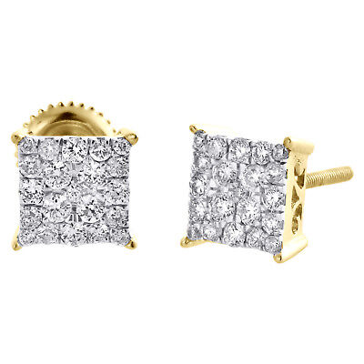 10K Yellow Gold Real Diamond Sqaure Cluster 4 Prong Studs 6.5mm Earrings 1/2 CT.