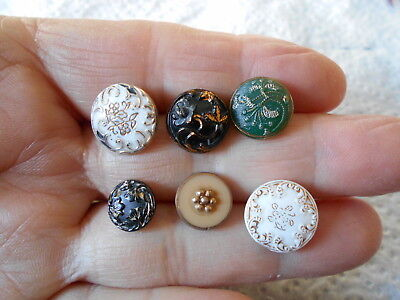 Antique/vintage 6 Small Victorian Glass Buttons  #174
