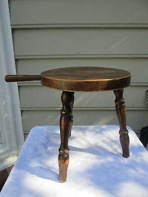 Primitive Distressed 3-leg Milking Farm Country Stool Display Stand Hardwood