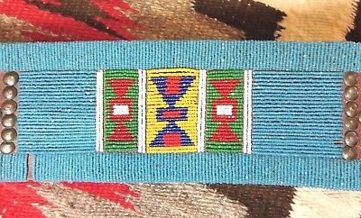 Nez Perce Plateau Native American Faceted Seed Bead Commercial Leather Belt 20s