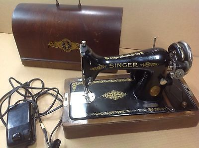 Vintage Singer Sewing Machine Y Series Great Britain Bentwood Case Working Cond.