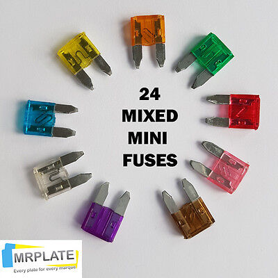 24 x Mini Car Fuse Set - 3 4 5 7.5 10 15 20 25 30 Amp Fuses Auto Car Blade Set
