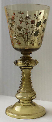 Antique German Glass Enameled Roemer Moser Goblet Game of Thrones Type