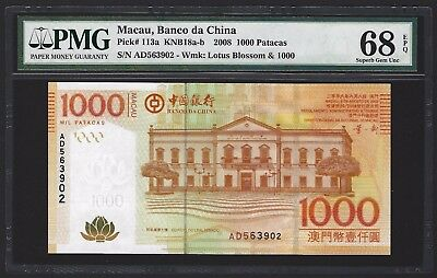 2008 Macau 2008 Banco da China 1000 Patacas PMG 68 SUPERB GEM UNC Finest Graded