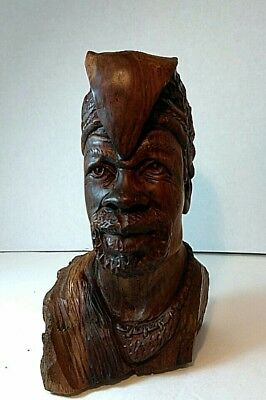 GLADMORE REZA Wood Statue. Signed. Carved African Man. Sheik. Turban. Headdress.