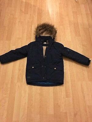 Boys H & M Navy Coat Parker 6 7 Years