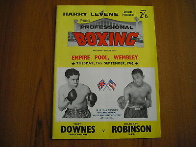 BOXING - TERRY DOWNES v SUGAR RAY ROBINSON, 1962 - PROGRAMME + FLYER