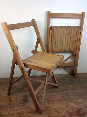 Vintage Folding WW2 era field theatre chairs wooden seating dining old