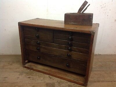 Vintage Engineer Bank Of Drawers Cabinet Old Brass Handle Draws