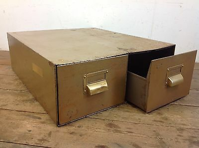 Vintage Double Drawer Cabinet Steel Metal Industrial Index Draws Old