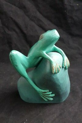 "Vintage Brass Tree Frog on Rock Cast Art Piece 6"" Heavy"
