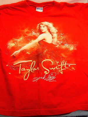 TAYLOR SWIFT T Shirt Sz Medium Youth  SPEAK NOW  2011 TOUR Cotton RED