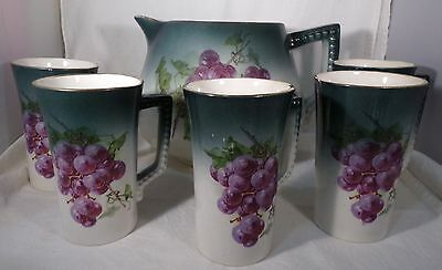 Vintage 1890s Pottery Pitcher & 5 Mugs Grapes on Sides Unmarked Crazed Display