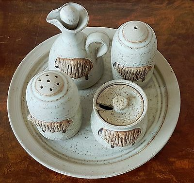 Vintage Studio Pottery Cruet Set and Stand - Sheep Motif - Signed to Base.