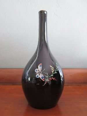 Antique German KPM Berlin porcelain small black vase butterflies blue scepter