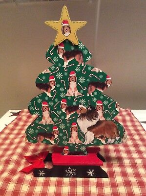 HP Hand Painted Handcrafted Sheltie Wood Christmas Tree/Sleigh Table Decor OOAK