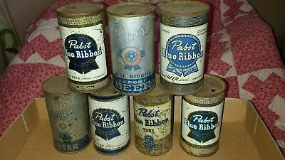 7 Flat top Pabst Blue Ribbon beer cans