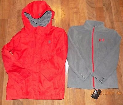 UNDER ARMOUR Boys 6 Red Hooded Winter Coat w/ Zip Out Fleece Sweatshirt NEW NWT