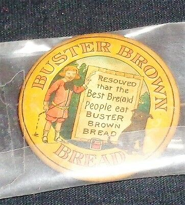 RARE Vintage Buster Brown Bread Celluloid Pin  Early 1900s