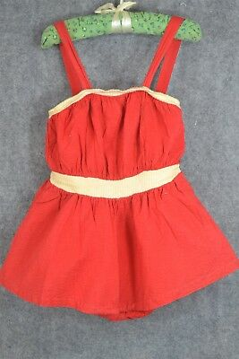 bathing suit Catalina girls child red skirt vintage  WWII 1940 original