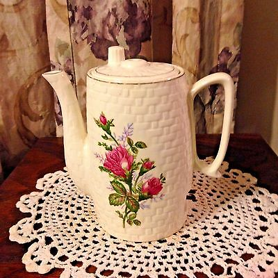 """Vintage Electric Tea Pot W/ Moss Rose Pattern Marked M In Circle 6 1/2"""" Tall"""