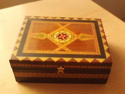 "Vintage Wooden Trinket Box with Metal Clasp ~ Roughly 6 1/4"" Long."