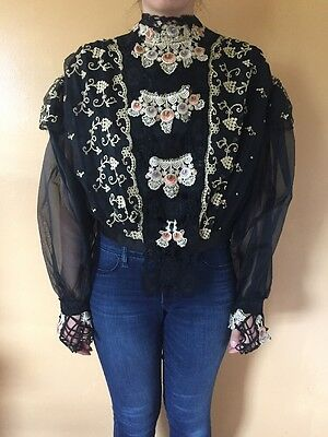 Vintage Womens Victorian Laced Black & Gold Top Blouse