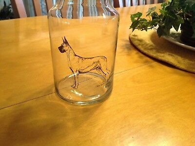 """Glass GREAT DANE 7"""" decanter with cork lid"""